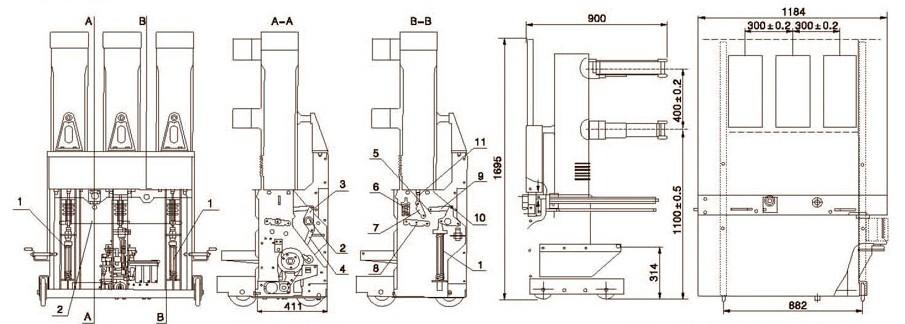 ZN85-40.5真空断路器结构特点 1、三相导电回路的真空灭弧室布置设计安装在封闭的绝缘筒内,ZN85-40.5真空断路器绝缘筒采用机电性能可靠的环氧树脂材料、而且用的是成熟的真空浇注工艺制定成。这样不仅使每相回路不受外界恶劣环境的影响、而且使相同绝缘性能显著提高,可以防止灰尘和其他可能对设备造成伤害的东西进入主回路部分,同时缩小了ZN85-40.