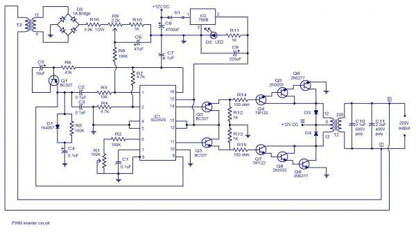 pwm逆变器电路的工作原理图